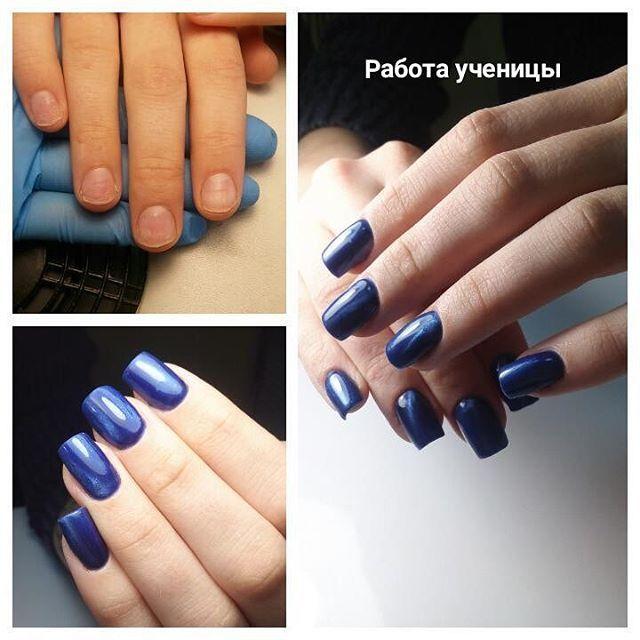 Маникюр Синий Гель Лак Дизайн